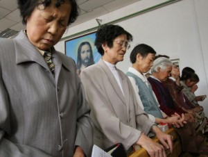 Chinese Christians Pray At A Church