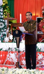 Presiden Joko Widodo menyampaikan pesan Natal